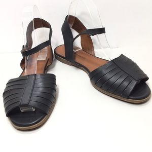 Lucky Brand Black Leather Ankle Strap Flat Sandals